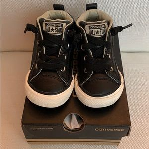 Black Leather Baby Converse